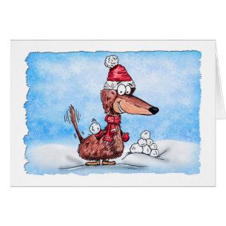 Define Good Mini Dachshund with Snowball Holiday C Card