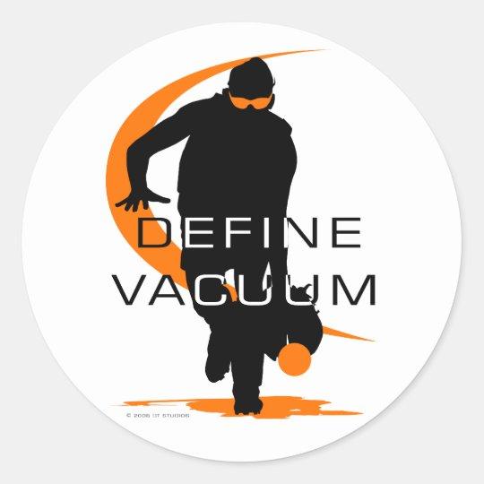 Define vacuum Orange Fielder Softball Classic Round Sticker