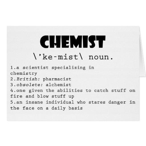 Définition de chimiste cartes de vœux