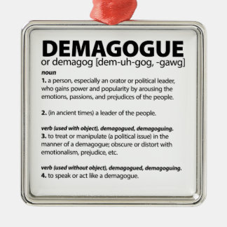 Definition of the Word Demagogue Silver-Colored Square Ornament