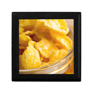 Defocused and blurred image of dry corn flakes gift box