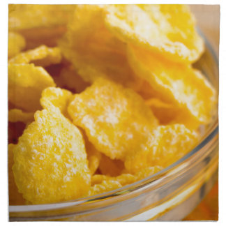 Defocused and blurred image of dry corn flakes printed napkin