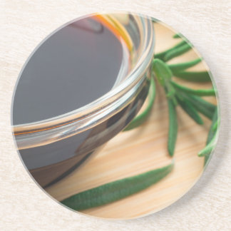 Defocused and blurred image of soy sauce coaster