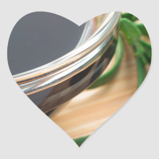 Defocused and blurred image of soy sauce heart sticker