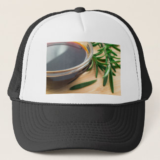 Defocused and blurred image of soy sauce trucker hat