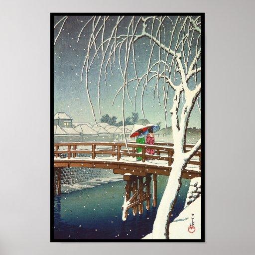 Défunte neige le long d'art d'hiver de Hasui Kawas Posters