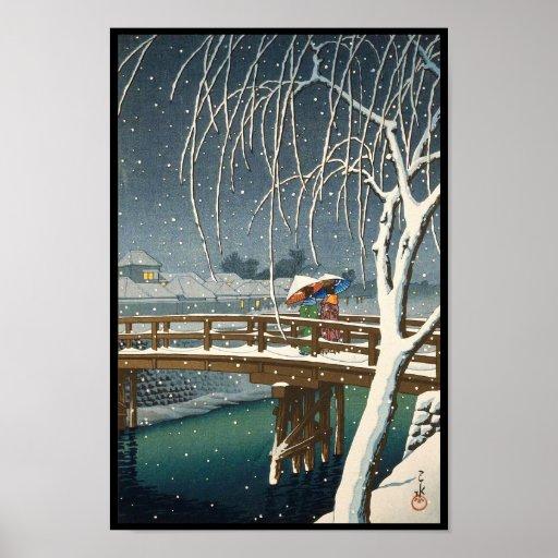 Défunte neige le long d'art d'hiver de kawase de h posters