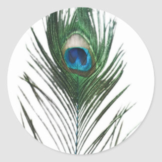 Defused Peacock Feather Classic Round Sticker