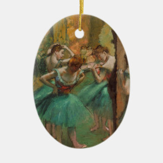 Degas Dancers Pink and Green Ceramic Oval Ornament