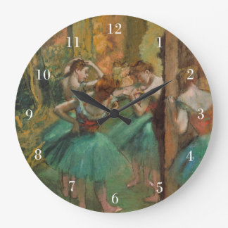 Degas Dancers Pink and Green Large Clock