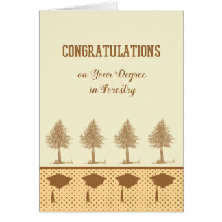 Degree in Forestry Card with Trees & Grad Caps