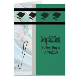 Degree in Medicine, Green with Caps & Stethoscope Card