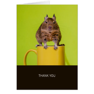 Degu on Yellow Cup Thank You Card