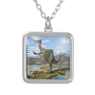 Deinocheirus dinosaur - 3D render Silver Plated Necklace