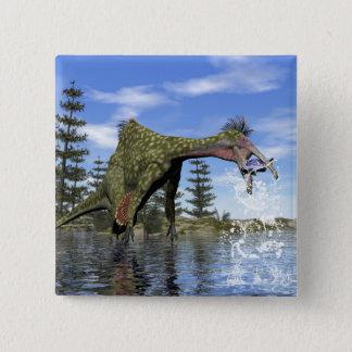Deinocheirus dinosaur fishing - 3D render 2 Inch Square Button