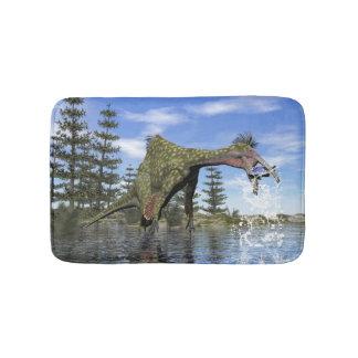 Deinocheirus dinosaur fishing - 3D render Bath Mat