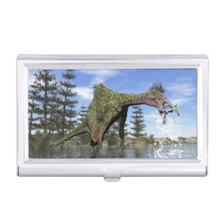 Deinocheirus dinosaur fishing - 3D render Business Card Holder