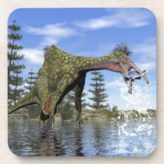 Deinocheirus dinosaur fishing - 3D render Coaster