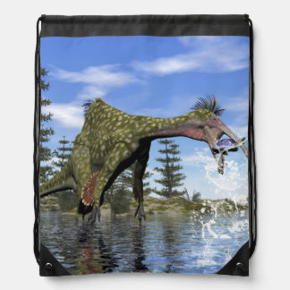 Deinocheirus dinosaur fishing - 3D render Drawstring Bag