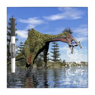 Deinocheirus dinosaur fishing - 3D render Dry Erase Board