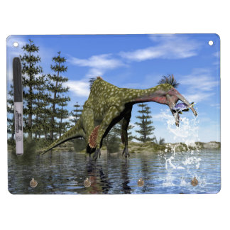 Deinocheirus dinosaur fishing - 3D render Dry Erase Board With Keychain Holder