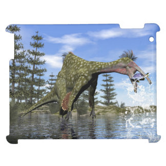 Deinocheirus dinosaur fishing - 3D render iPad Cover