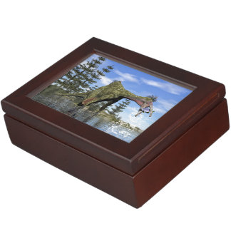Deinocheirus dinosaur fishing - 3D render Keepsake Box