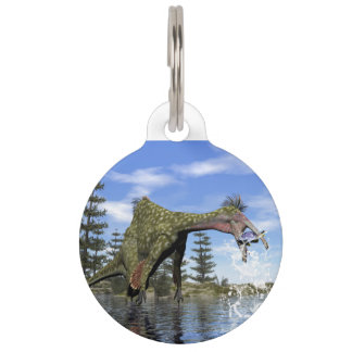 Deinocheirus dinosaur fishing - 3D render Pet Tag