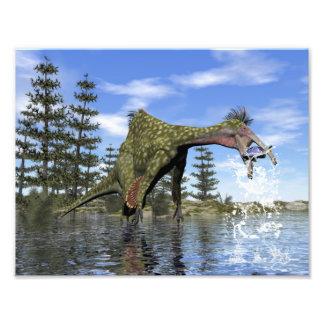 Deinocheirus dinosaur fishing - 3D render Photo Print