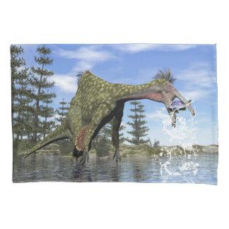 Deinocheirus dinosaur fishing - 3D render Pillowcase