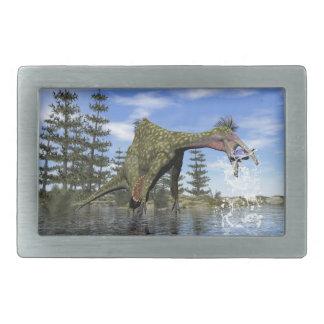 Deinocheirus dinosaur fishing - 3D render Rectangular Belt Buckles