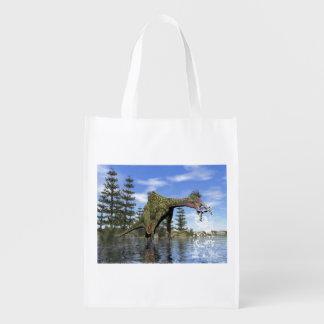 Deinocheirus dinosaur fishing - 3D render Reusable Grocery Bag