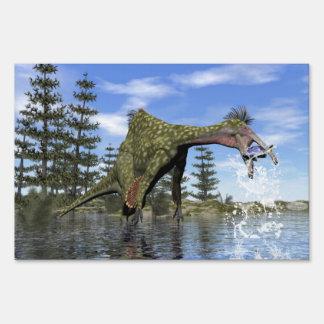 Deinocheirus dinosaur fishing - 3D render Sign