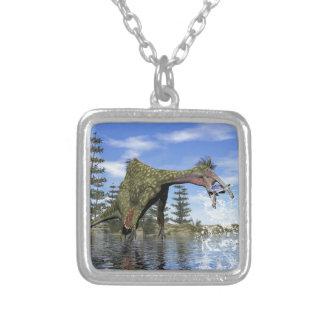 Deinocheirus dinosaur fishing - 3D render Silver Plated Necklace
