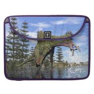 Deinocheirus dinosaur fishing - 3D render Sleeve For MacBooks