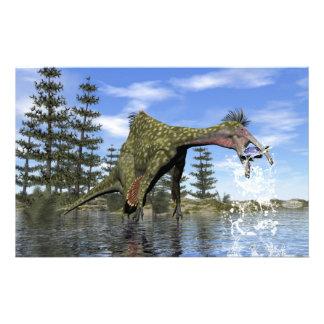 Deinocheirus dinosaur fishing - 3D render Stationery