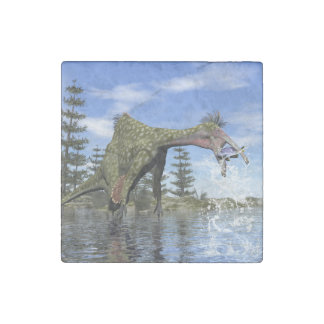 Deinocheirus dinosaur fishing - 3D render Stone Magnets