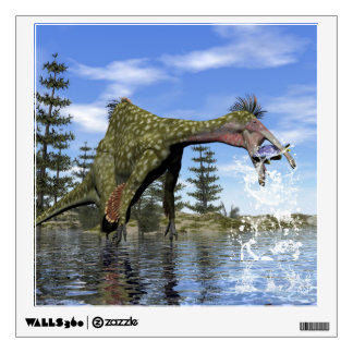 Deinocheirus dinosaur fishing - 3D render Wall Sticker