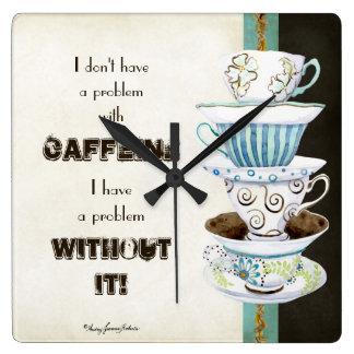 Deja' Brew Coffee Art Stacked Cups Mugs Caffeine Wallclock