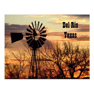 Del Rio Texas windmill postcard
