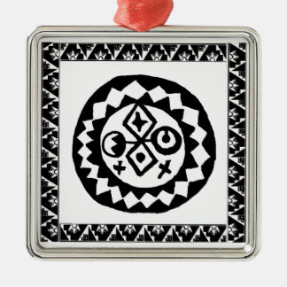 Del Sol of the Four Cardinal Directions Silver-Colored Square Ornament