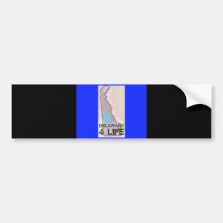 """""""Delaware 4 Life"""" State Map Pride Design Bumper Sticker"""
