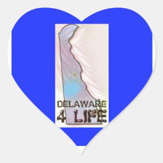 """""""Delaware 4 Life"""" State Map Pride Design Heart Sticker"""
