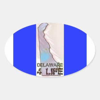 """""""Delaware 4 Life"""" State Map Pride Design Oval Sticker"""