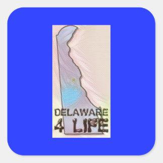"""""""Delaware 4 Life"""" State Map Pride Design Square Sticker"""