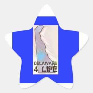 """""""Delaware 4 Life"""" State Map Pride Design Star Sticker"""