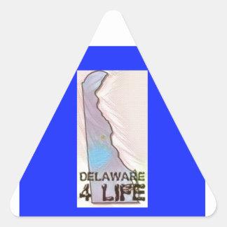 """""""Delaware 4 Life"""" State Map Pride Design Triangle Sticker"""