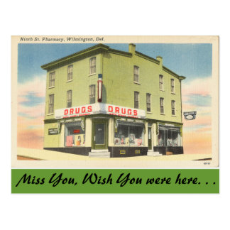 Delaware, 9th St. Pharmacy Postcard