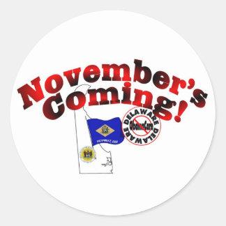Delaware Anti ObamaCare – November's Coming! Round Sticker