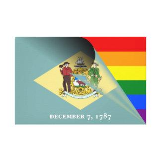 Delaware Flag Gay Pride Rainbow Canvas Print